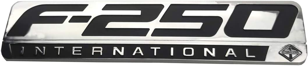 2PCS F-250 INTERNATIONAL Side Fender Emblem 3D Nameplate Badge Logo Decal Replacement for F250 Chrome