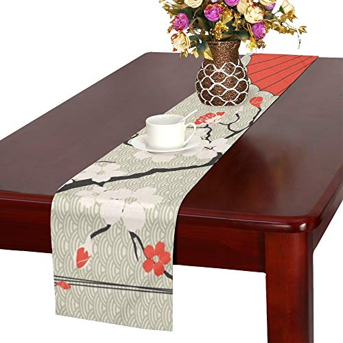 WHIOFE Japanese Umbrella Japanese Cherry Sakura Table Runner, Kitchen Dining Table Runner 16 X 72 Inch for Dinner Parties, Events, Decor from WHIOFE