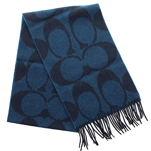 Coach Signature Wool Cashmere Twill Muffler Scarf F82860 (Navy)