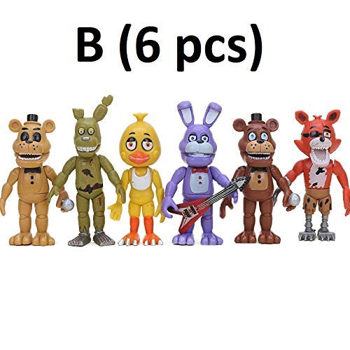 PAPWELL Set 12 Five Nights at Freddy's Action Figures 2 - 4.5 inch FNAF Hot Toys Foxy Chica Bonnie Freddy Fazbear Toy Halloween Christmas Collectable Gift Collection Gifts for Kids (Set B (6 pcs))