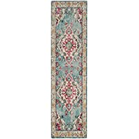 Safavieh Monaco Collection MNC243J Vintage Bohemian Light Blue and Fuchsia Distressed Runner (22 x 6)