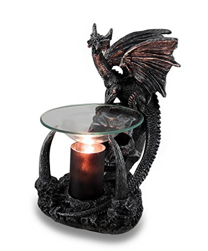 (Obsidian Magma Gothic Dragon Lighted Electric Oil and Wax Warmer )