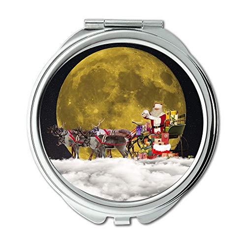 (Mirror,Earth Theme Mirror,Christmas Santa Claus Christmas Motif Nicholas Makeup Mirrors,Pocket Mirror,Portable Mirror)