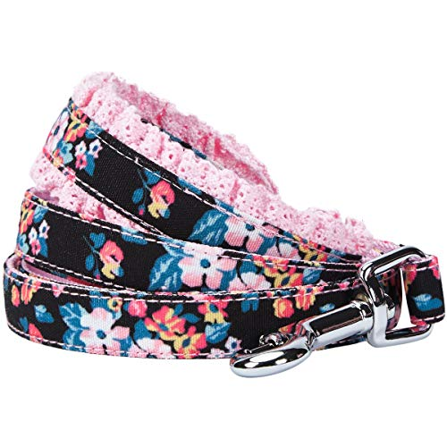 Blueberry Pet 5 Patterns Durable Spring Made Well Elegant Floral Print Dog Leash with Lace in Sleek Black, 5 ft x 5/8