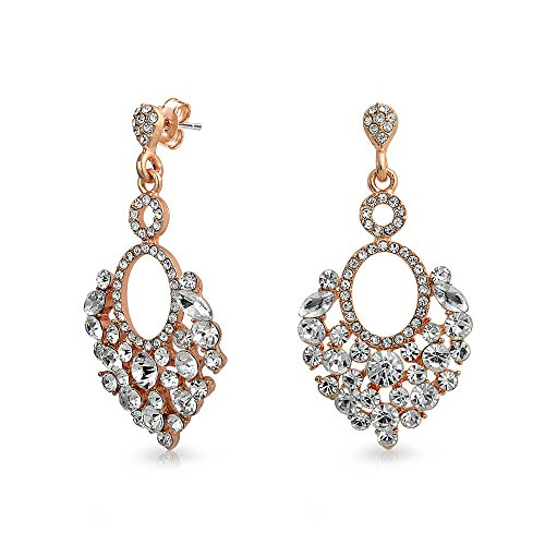 Bling Jewelry Rose Gold Plated Alloy Crystal Estate Style Chandelier (Estate Rose Gold Earrings)