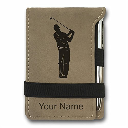Mini Notepad, Golfer, Personalized Engraving Included (Light Brown)