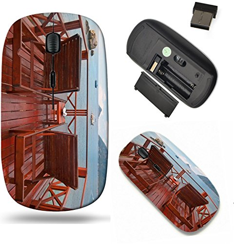 Liili Wireless Mouse Travel 2.4G Wireless Mice with USB Receiver, Click with 1000 DPI for notebook, pc, laptop, computer, mac book Two beach beds on a terrace with beautiful sea v