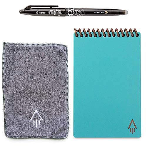 "Rocketbook Everlast Smart Reusable Notebook - Dotted Grid Eco-Friendly Notebook with 1 Pilot Frixion Pen & 1 Microfiber Cloth Included - Neptune Teal Cover, Mini Size (3.5"" x 5.5"")"