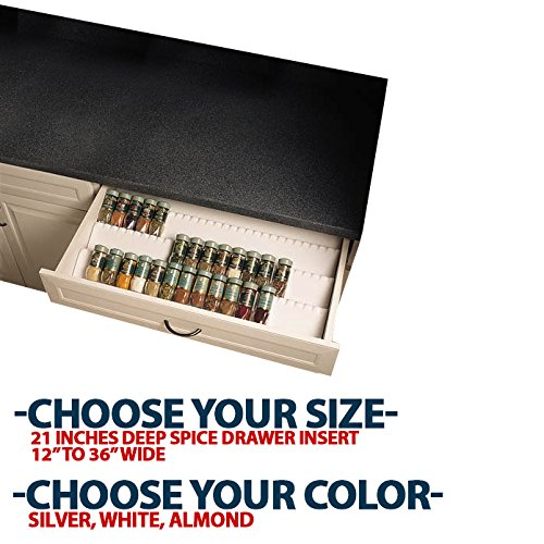 Universal Insert Tray - Rev-A-Shelf ST50-21A Universal Spice Tray - Almond Trimmable, 21 inches Spice Drawer Liner Insert x 30