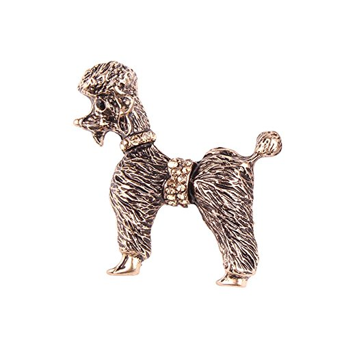 ZHUOTOP Women Bohemian Rhinestone Gem Dog Animal Brooch Pins Jewelry Accessories Lovely Cute 03#Golden