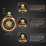 ManChDa Steampunk Mechanical Hand Wind Skeleton Pocket Watch Roman Copper Wooden with Chain Gift Box 8