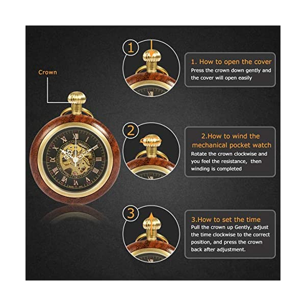 ManChDa Steampunk Mechanical Hand Wind Skeleton Pocket Watch Roman Copper Wooden with Chain Gift Box 5