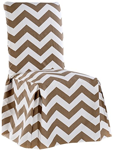 Classic Slipcovers CHEVRDRC Chevron Dining Chair, Taupe/White ()