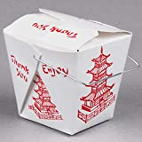 Fold Pak 50 count 32 oz. PAGODA Wire Handle Chinese Take Out Box w/Signature Party Picks