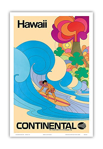 Pacifica Island Art Hawaii - Continental Airlines - Hawaiian Surfer - Psychedelic Flower Power Art - Vintage Hawaiian Travel Poster c.1960s - Hawaiian Master Art Print - 12 x 18in