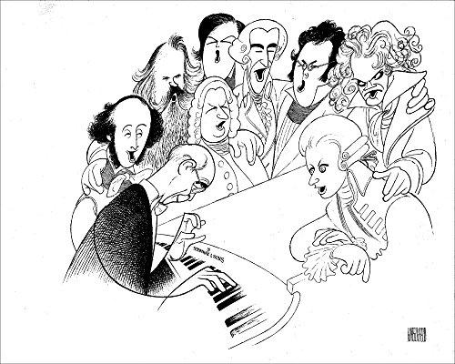 Al Hirschfeld's SING ALONG WITH SERKIN, Hand Signed by AL HIRSCHFELD, Ltd Ed Etching, C of A, Depicting: RUDOLF SERKIN, FELIX MENDELSSOHN, JOHANNES BRAHMS, JOHANN SEBASTIAN BACH, ROBERT SCHUMANN, FRANZ JOSEPH HAYDN, FRANZ SCHUBERT, LUDWIG VAN BEETHOVEN and WOLFGANG AMADEUS MOZART