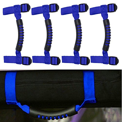 4 x Roll Bar Grab Handles Grip Handle For Jeep Wrangler YJ TJ JK JK JL JLU Sports Sahara Freedom Rubicon X & Unlimited (Blue Wrangler)
