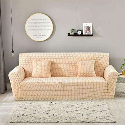 Leather Art Sofa Deco (Liveinu Plaid Fleece Short Hair Spandex Stretch Elastic Sofa Slipcover for Armchair Loveseat Sofa Couch Nude Yellowish Loveseat(57