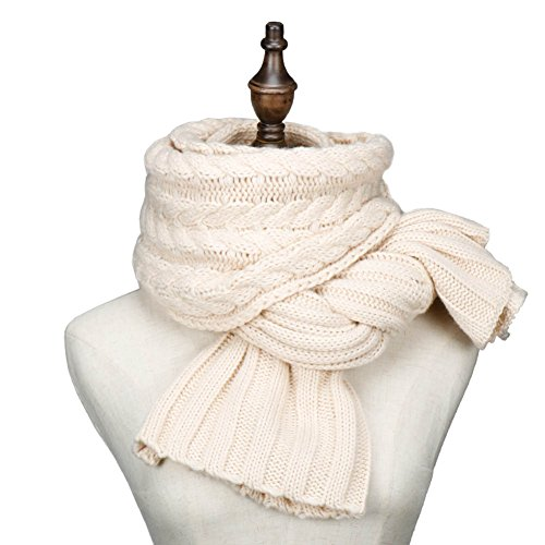 Winter Fashion Thick Knitted Scarf ,RiscaWin Thick Cable Knit Wrap Chunky Warm Long Scarf - Long People Faces With