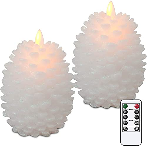 Wondise Pine Cone Flameless Flickering Candles with Remote and Timer, Set of 2 Battery Operated LED Moving Wick Real Wax Christmas Home Decoration Candle 3.5 x 4.7 Inches, White