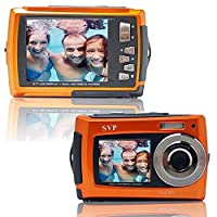 SVP Aqua 5800 Orange (with Micro 32GB) 18 MP Dual Screen Waterproof Digital Camera from SVP