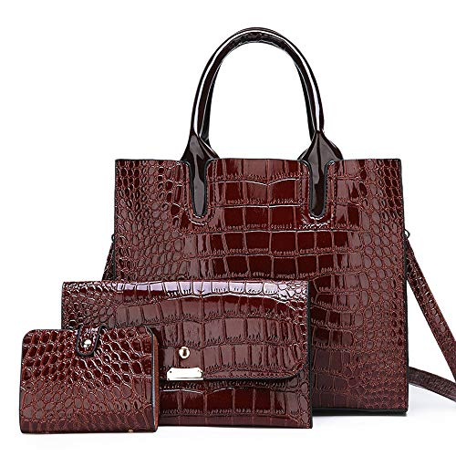 Women Red Purses and Handbags Sets Designer Leathe Satchel Tote Should Bags 3 Piece (Wine Red)