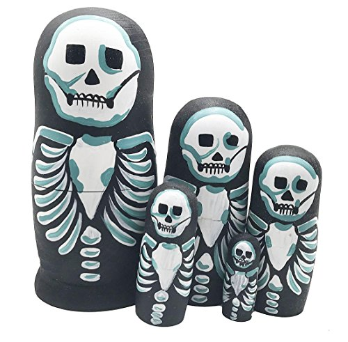 Arsdoll Scary Black Bone Skeleton Nesting Doll Wooden Matryoshka Russian Doll Handmade Stacking Toy Set 5 Pieces for Kids Girl Mother's Day Home Decoration