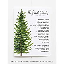 Parent Gift Personalized Family Tree Art Print Rustic Poem