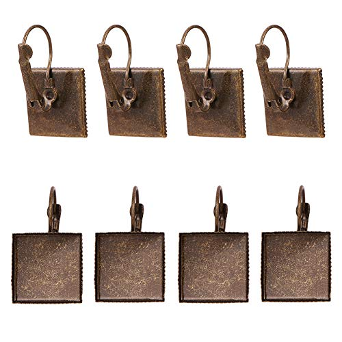 PH PandaHall 50 Pairs Leverback Earring Hooks with 15x15mm Tray Brass Leverback Earring Findings for Jewelry Making - Antique Bronze
