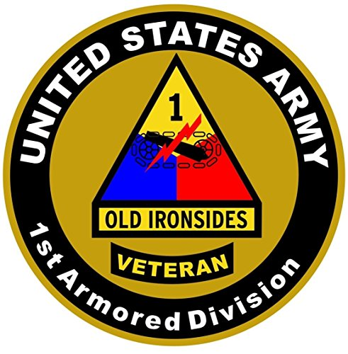 - 1-Pc Extreme Popular US Army Veteran 1st Armored Division Sticker Sign Doors Window Home Size 8