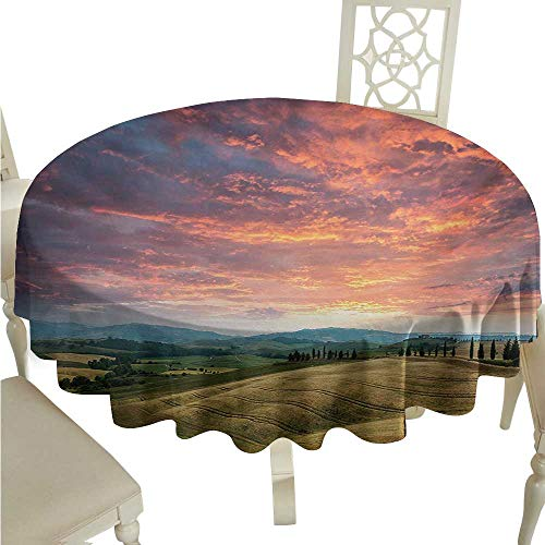 Zodel Round Tablecloth Tuscany Tuscany Italy Cypress Trees and Fields Crop Cloudy Sky Holiday Destination Washable Tablecloth D54 Suitable for picnics,queuing,Family