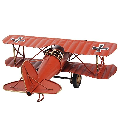 Antique Airplane Tricycle : Vintage wrought iron biplane aircraft red import it all