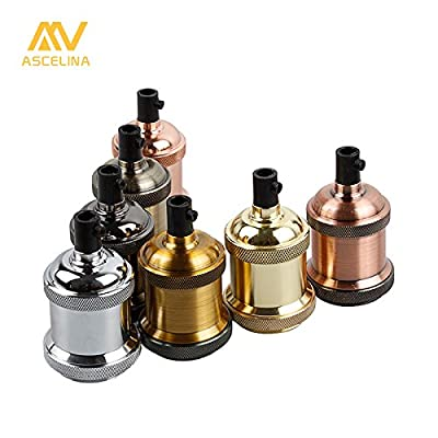 Light Sockets Vintage Edison Lamp Base Pendant light E26/E27 Screw Bulb base Aluminum Light Socket Industrial Retro Fittings lamp holder Fixture 2 Pack
