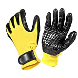 Znew Pet Grooming Gloves, De-Shedding Brush Glove for Horses, Dogs & Cats with Long & Short Fur, Enhanced Five Finger Design - Left & Right