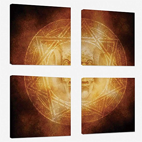4 Pcs/set Modern Painting Canvas Prints Wall Art For Home Decoration Horror House Decor Print On Canvas Giclee Artwork For Wall DecorDemon Trap Symbol Logo Ceremony Creepy Ritual Fantasy Paranormal De by iPrint