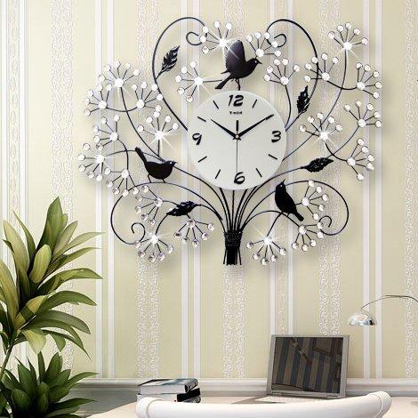 Large diamond luxury modern living room wall clock watch European fashion creative arts mute clock