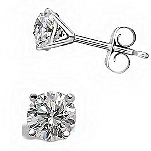 (0.32CT H SI1 Martini Round Cut Diamond Stud Earrings 14K White Gold)