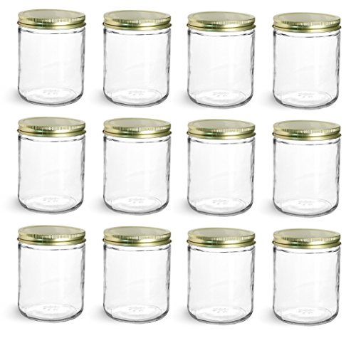 North Mountain Supply 16 Ounce Wide Mouth Straight-Sided Canning Jars - With Gold Metal Lids - Case of 12
