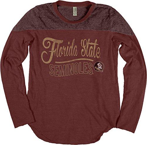 NCAA Florida State Seminoles Adult Women NCAA Women's Dyed Long Sleeve Yoke Tee,Medium,Maroon