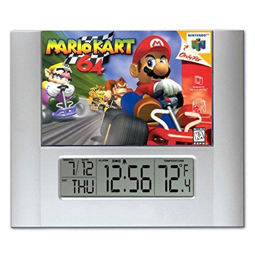 [Retro Mario Kart 64 Video Game Box Art Digital Wall Desk Clock Temperature + Alarm] (Video Game Box Art)