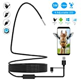 USB Endoscope, 3 in 1 Semi-rigid Type C Borescope Inspection Camera, Cinsey 5.5mm Waterproof Snake Camera with 6 Adjustable Led for Android, Tablet, PC & Macbook - Inspecting Hard-to-reach Place Now!