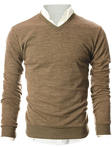 - OHOO Mens Slim Fit Light Weight V-Neck Pullover Sweater/DCP015-LIGHTBROWN-2XL