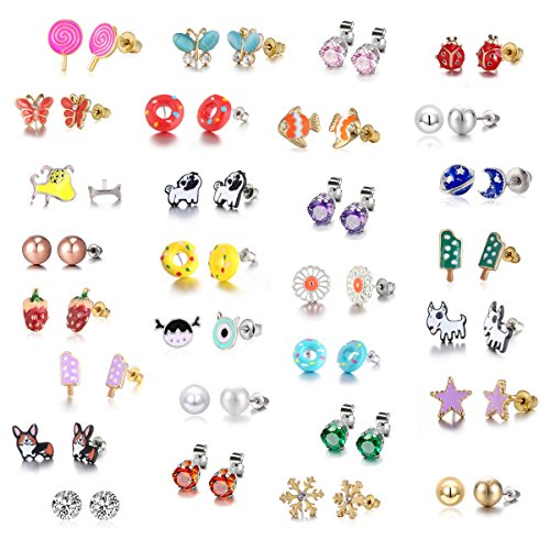 - 29 Pair Stainless Steel Gold Plated Mixed Color Cute Animal Food Dog Bone Popsicle Donut Star Ladybug CZ Faux Pearl Daisy Flower Devil Stud Earring Set for Girls Kids (29 pairs-Donut Girl)