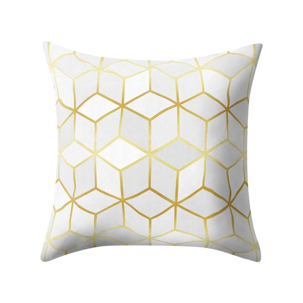 VJGOAL Hexagonal de Nido de Abeja de impresión Suave Cojín Cómodo Funda de Almohada Cuadrada Decoración del Hogar(45_x_45_cm,Negro12)