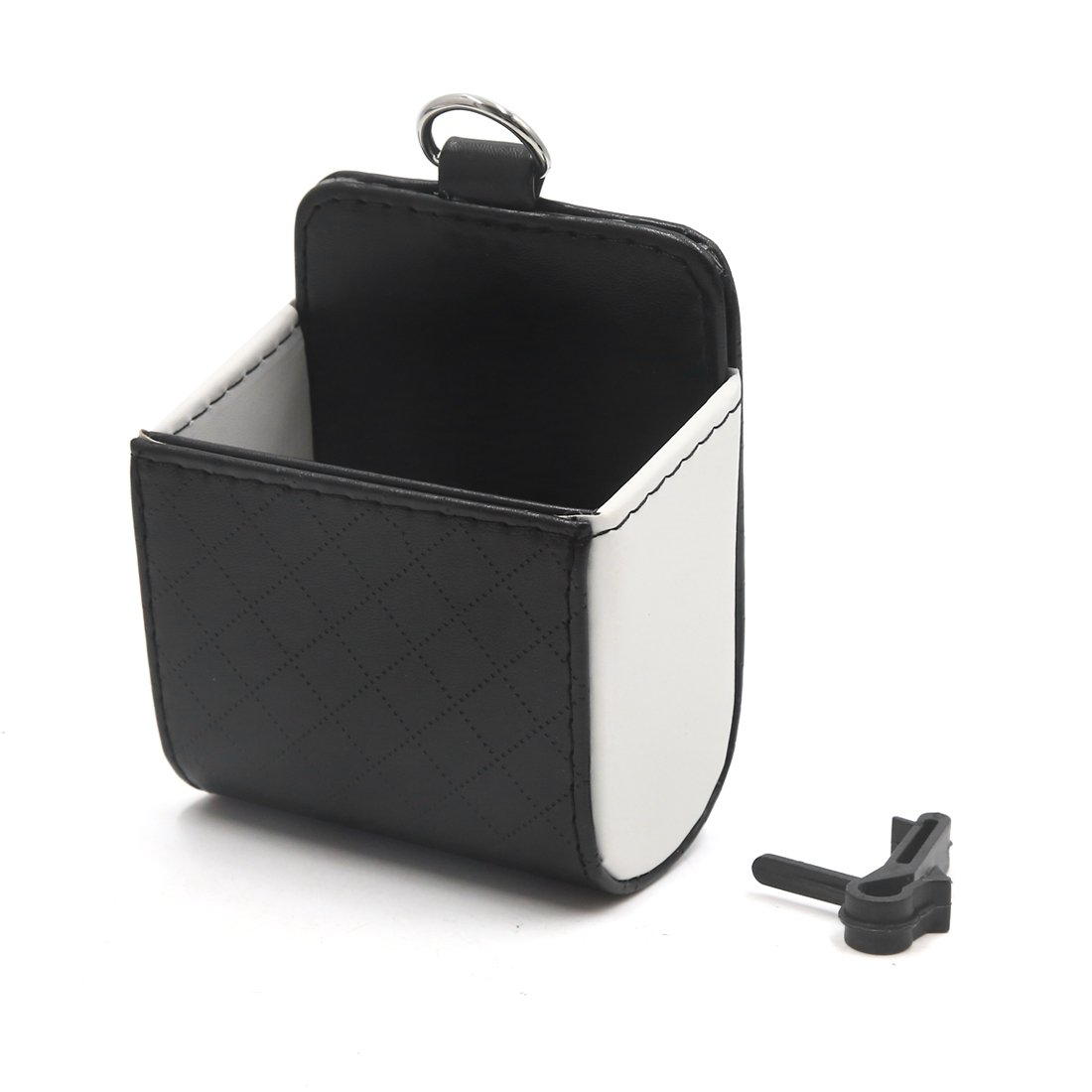 uxcell Black White Phone Pocket Multi-Functional Pouch Car Air Vent Storage Holder Bag