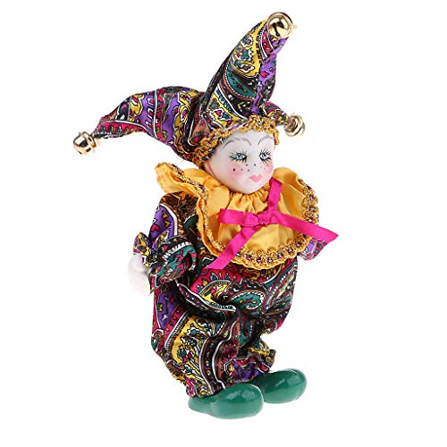 Prettyia 6 inch Adorable Kids Angle Model Porcelain Triangel Doll Harlequin Doll Great for Valentines Gift Clown Doll Model Collectibles #4