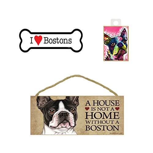 - Boston Terrier Dog Lover Gift Bundle - Decorative Wall Sign A House is Not a Home Without a Boston, Car Magnet I Love Bostons, and Refrigerator Magnet All You Need is Love and a Dog