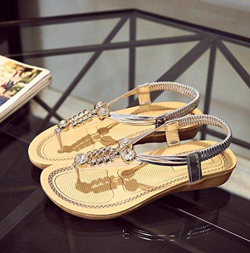 Yiiquan Mujer Sandalias Verano Bohemia Clip Dedo Del Pie Sandalias Con Cuentas Zapatos de Playa Plata