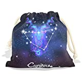 Constellation Zodiac Sign Capricorn Velvet Drawstring Gift Bag Wrap Present Pouches Favor for Jewelry, Coin, Holiday, Birthday, Party, 12.6X17 Inches