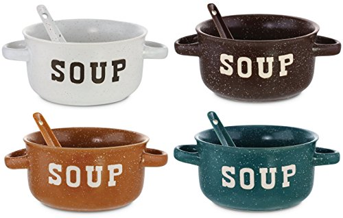 KOVOT Set of 4 Speckled Ceramic Soup Bowls With Spoons